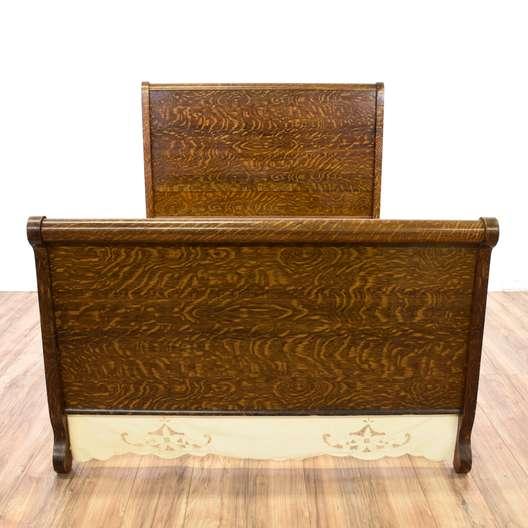 Antique Tiger Oak Headboard Footboard Rails