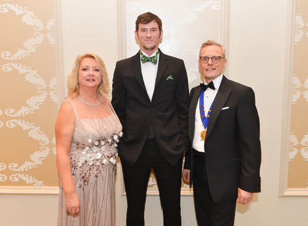 ACE vice-chair, Gaye Bullard of Sodexo with Adam Handling and ACE Chair, Paul Hurren of Lusso Catering