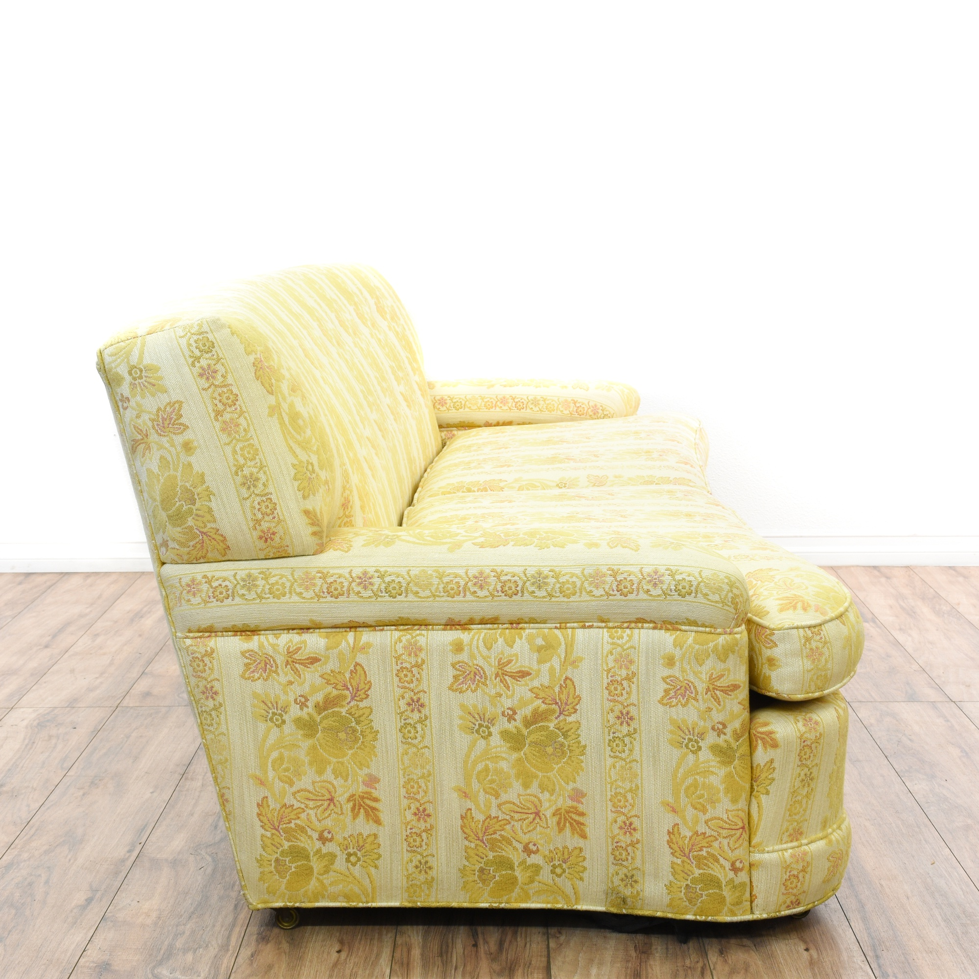Mid Century Modern Yellow Floral Sofa Loveseat Vintage Furniture San Diego Los Angeles
