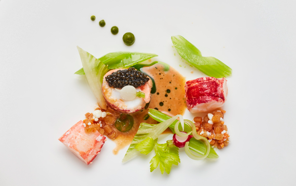 National selection fish dish: native lobster with Fjord trout mousse, celery branch, winter radishes, pistachio purée, burnt chive oil, lobster verbena cream, Oscietra caviar
