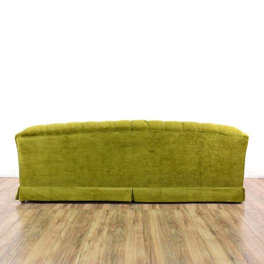 Mid Century Modern Chartreuse Green Velvet Sofa Loveseat