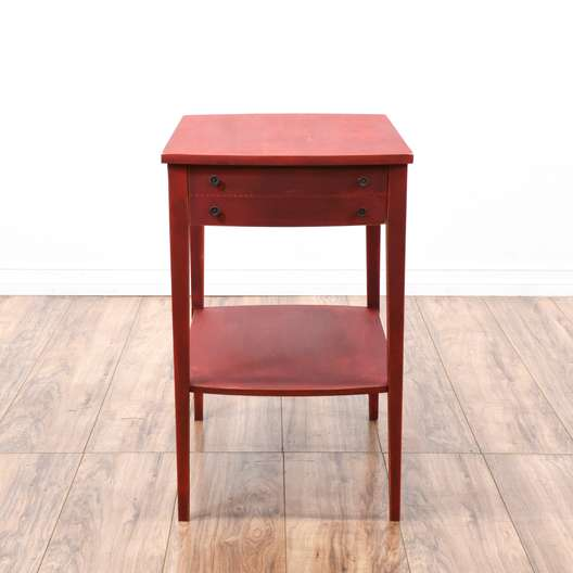 Shabby Chic Red Tiered End Table