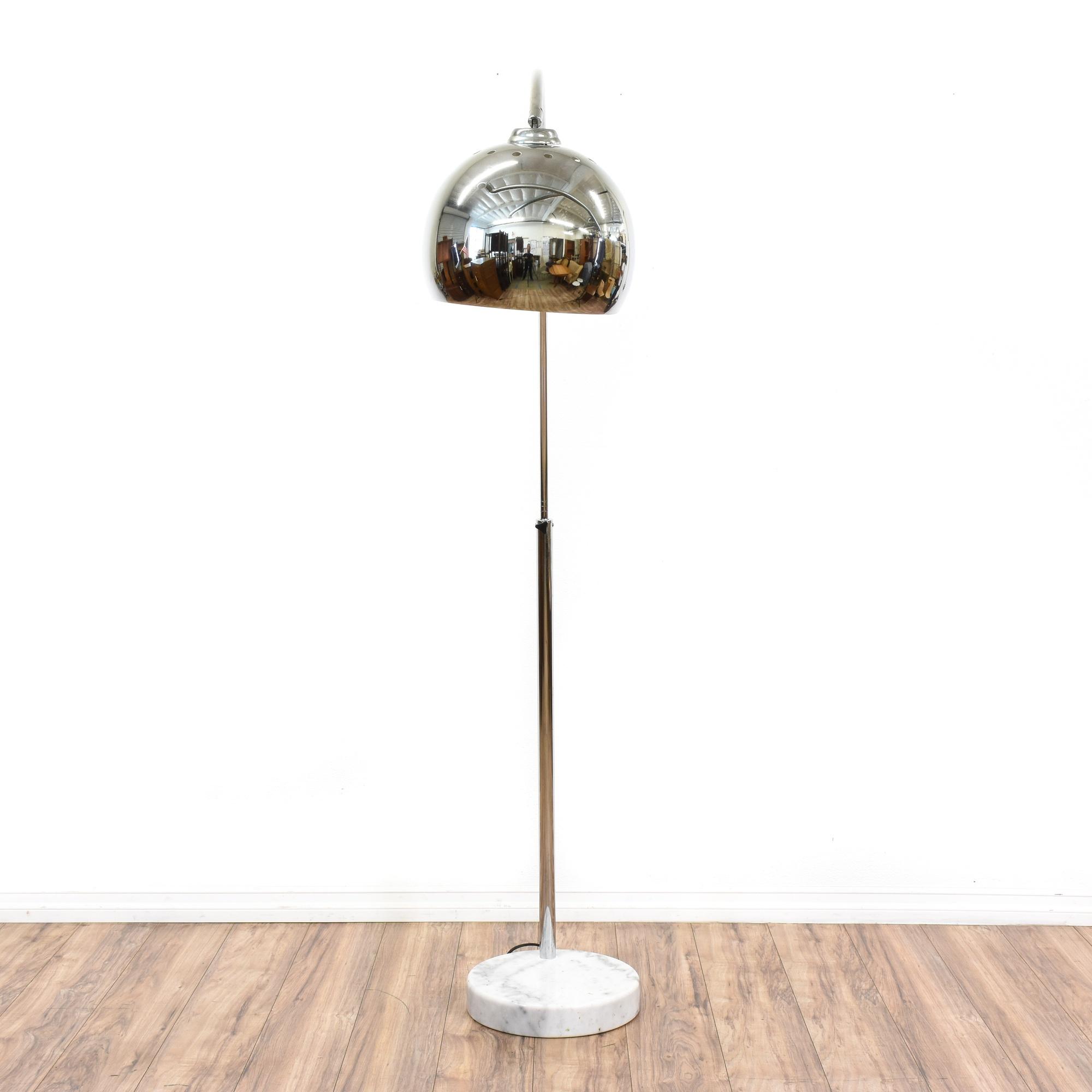 Chrome Arc Floor Lamp W Marble Base Loveseat Vintage