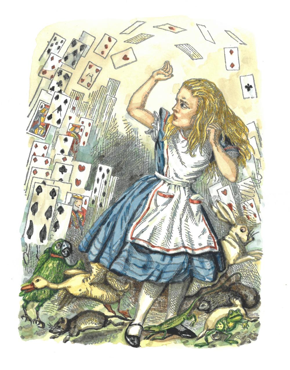 Illustration av John Tenniel, färglagd av Olle Ekström.