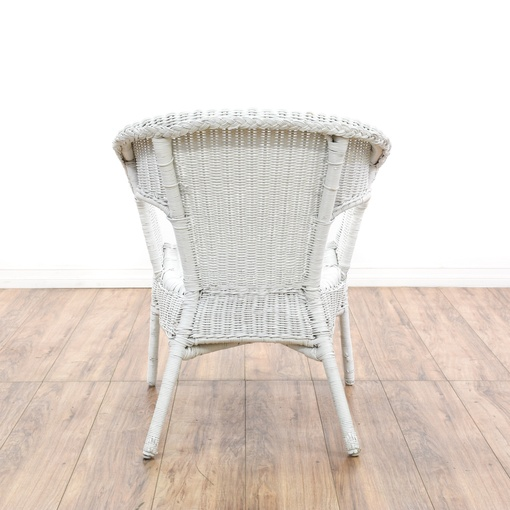Pair Of White Wicker Patio Chairs Loveseat Vintage