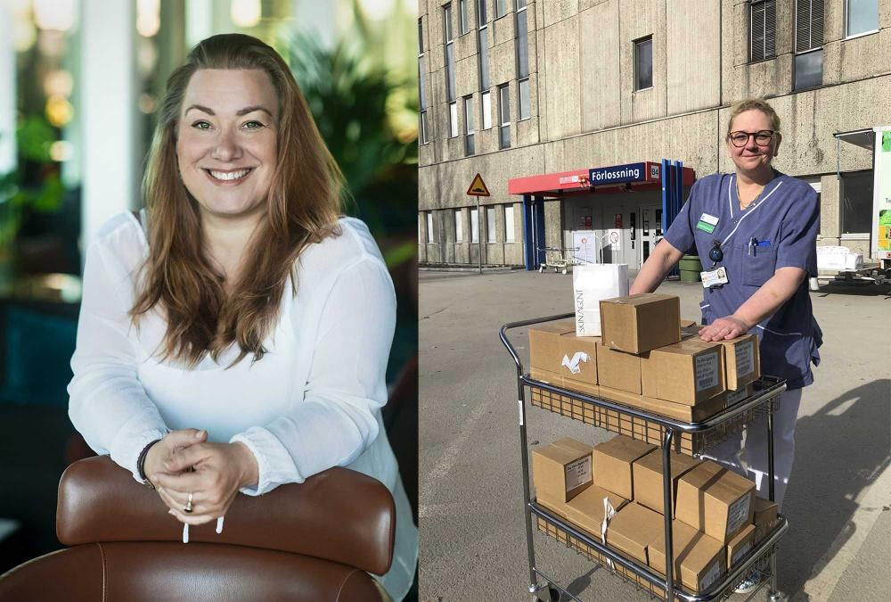 NvP Maj 2020 Linda Nilsson, The Skin Agent och Lena Frank, Huddinge Sjukhus