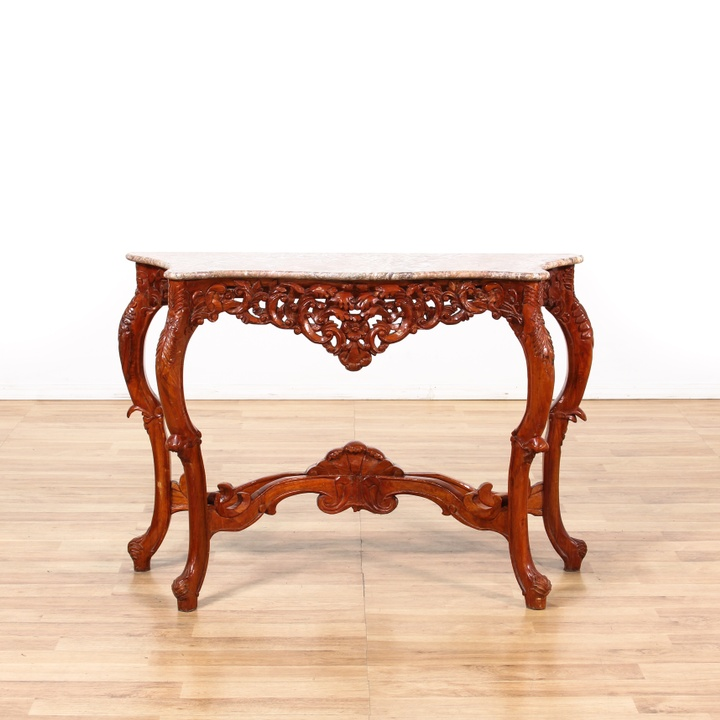 Asian red laquer console table w marble top loveseat for Oriental furniture los angeles
