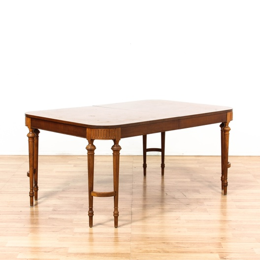 Traditional dining table w 8 legs pop leaf loveseat for Traditional dining table for 8