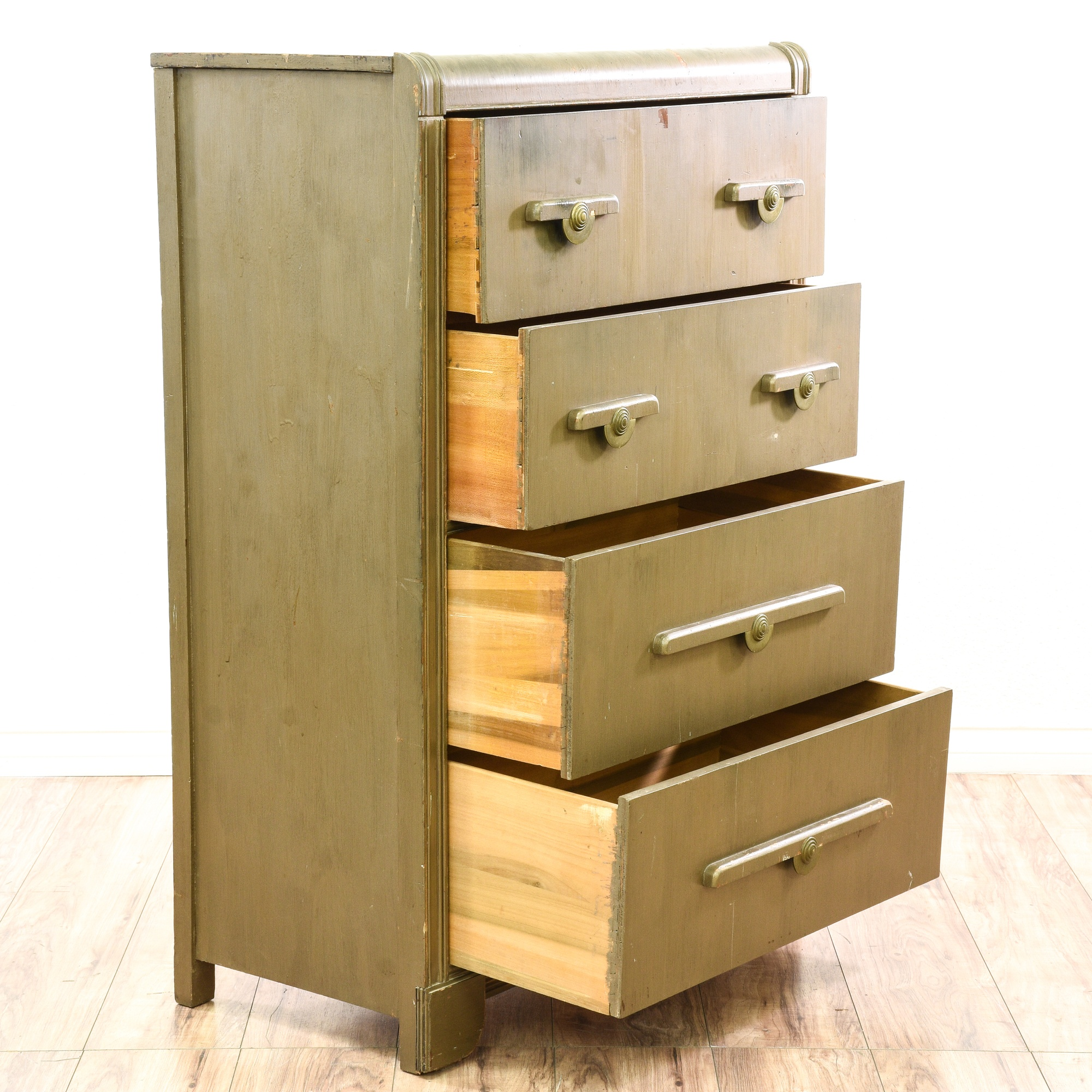 Forsyth Art Deco Kitchen Interior Design San Diego: Art Deco Green Stained Chest Of Drawers Dresser