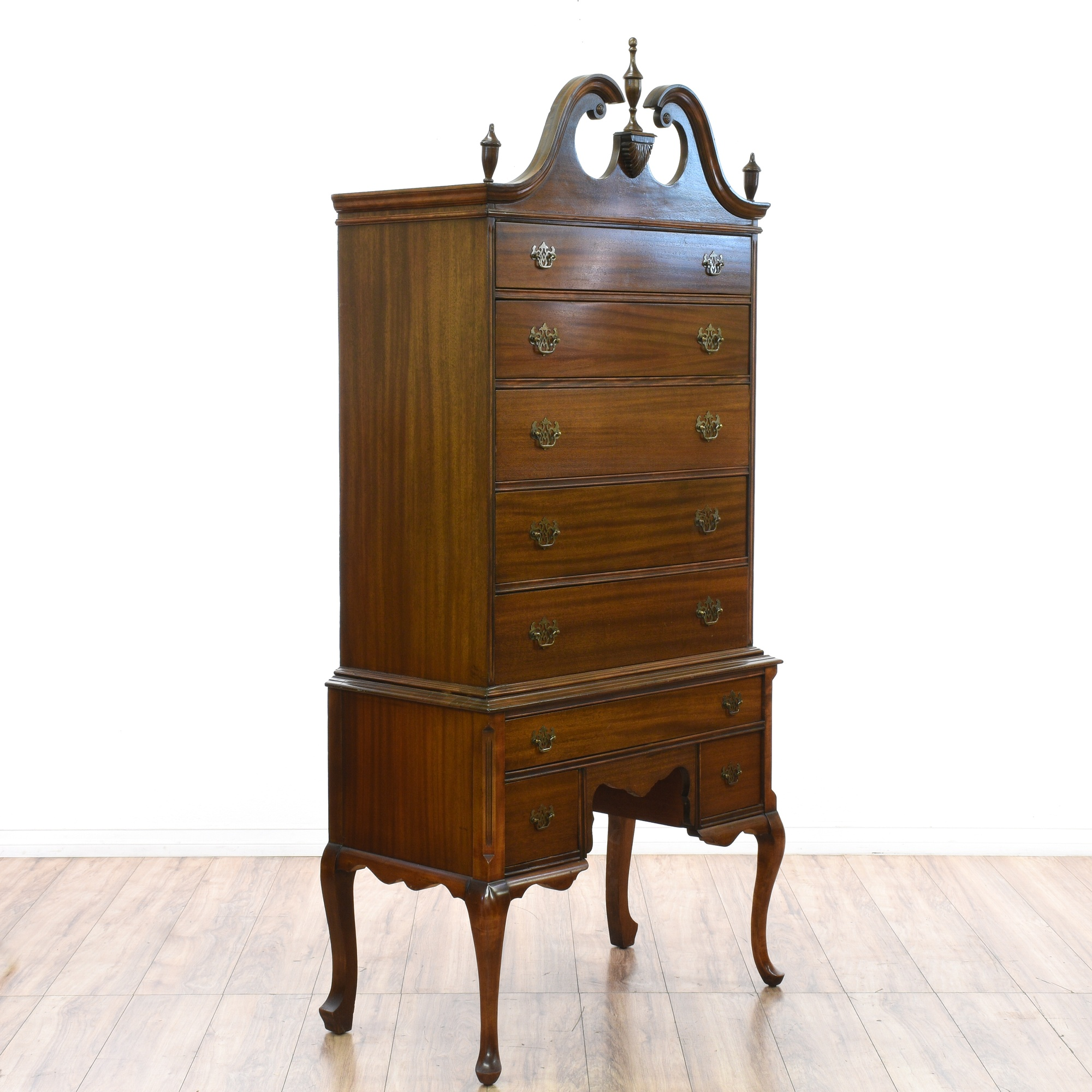 high lot of section with small pin boy chest two federal style piece drawers over crown finials arched mahogany upper burled having three highboy