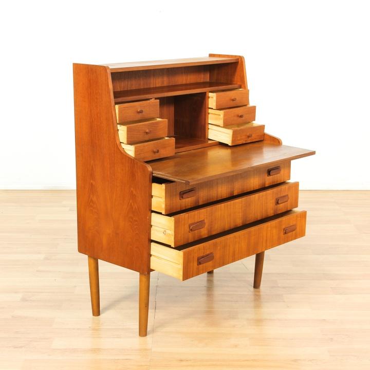 Danish modern teak secretary desk loveseat vintage for G furniture los angeles