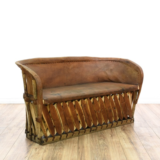 Next - Mexican Equipale Leather & Wood Sofa Loveseat Vintage Furniture