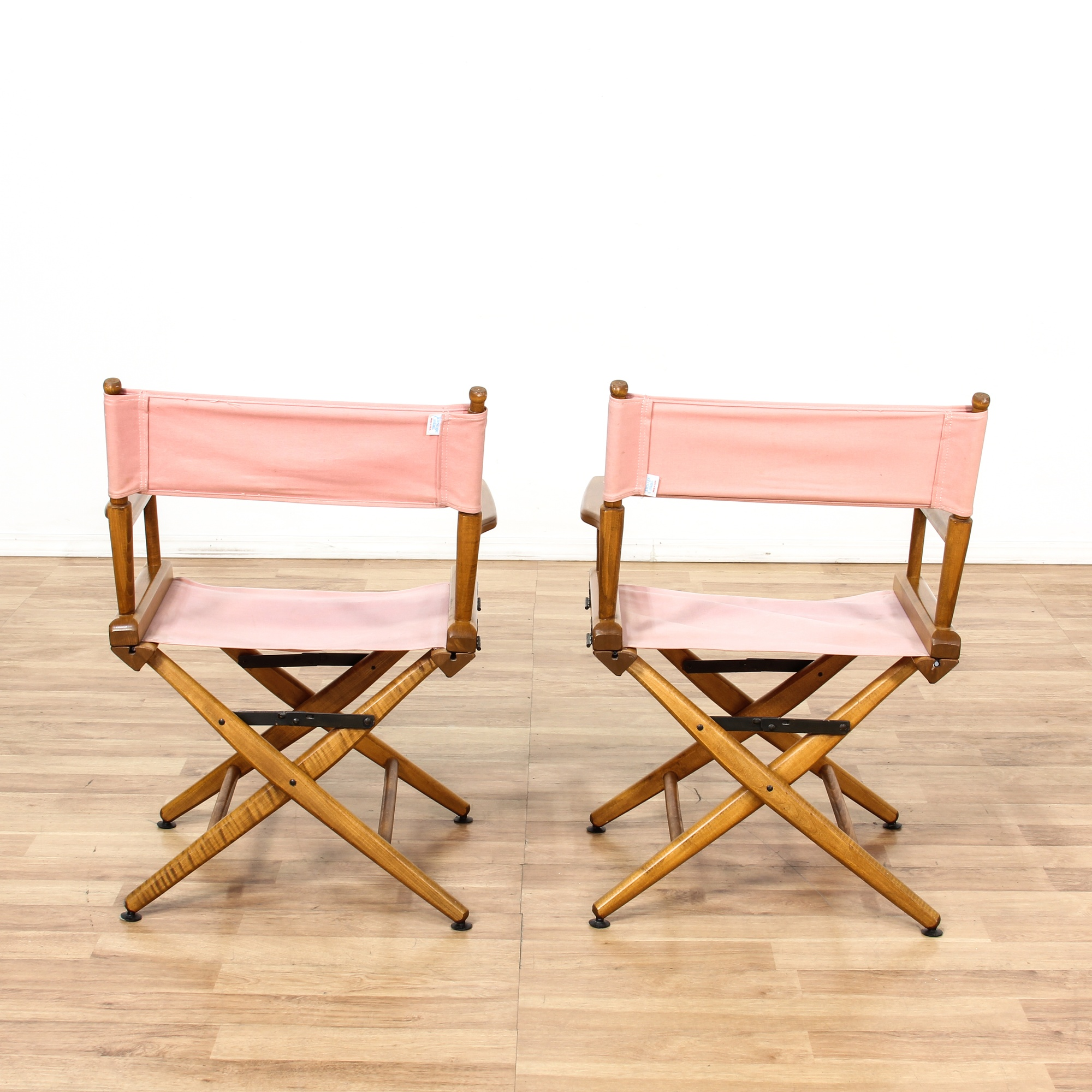 Pair Of Quot Telescope Quot Folding Pink Director Chairs