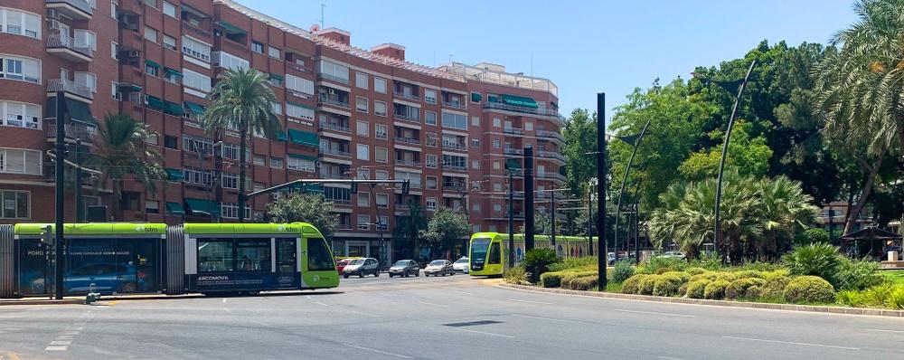 Spårvagnar i Plaza Circular i Murcia.