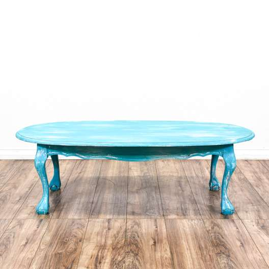 Shabby Chic Blue Oval Coffee Table