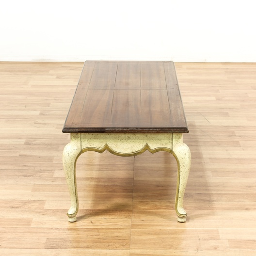 French Gold Coffee Table: French Provincial Cream & Gold Wood Coffee Table
