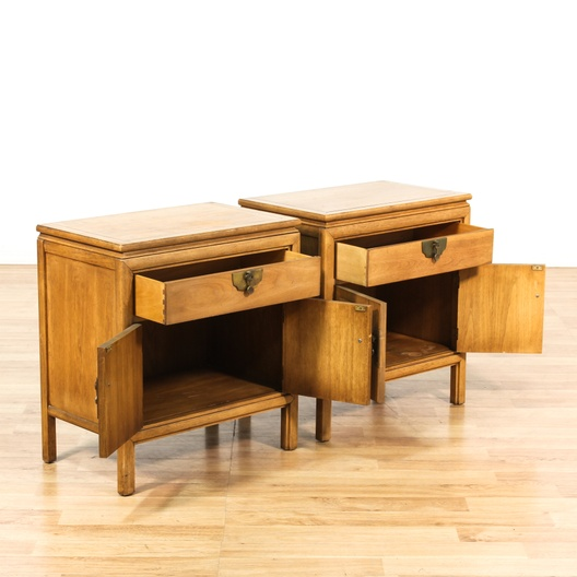 Pair of asian 1 drawer cabinet nightstands loveseat for Oriental furniture los angeles