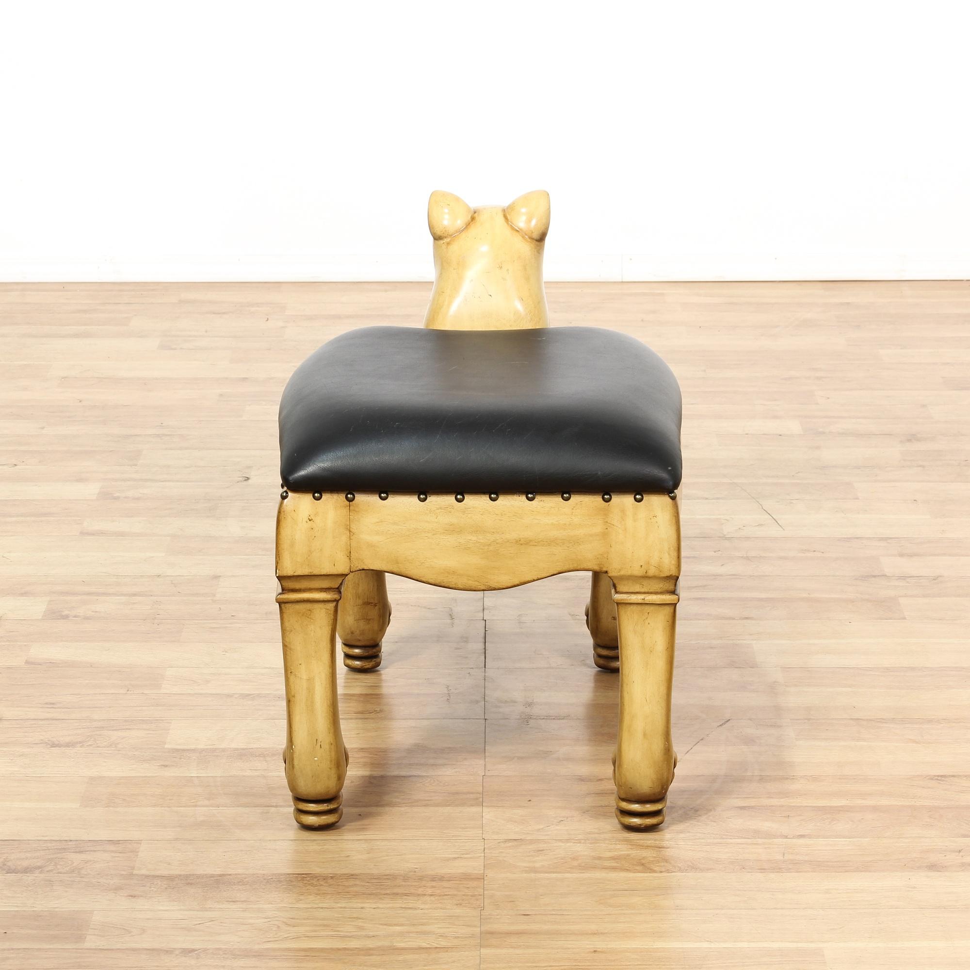 wood carved lioness cat bench loveseat vintage furniture