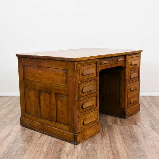 Solid Oak 8 Drawer Kneehole Desk