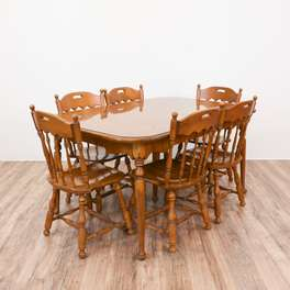 """Ethan Allen"" Country Maple Dining Set w/ 6 Chairs"