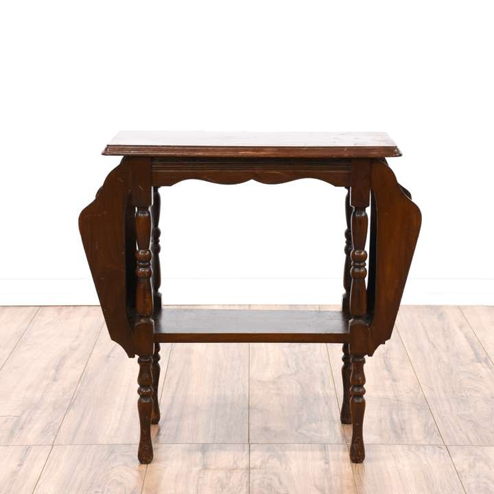 Octagon Carved End Table Plant Stand Loveseat Vintage