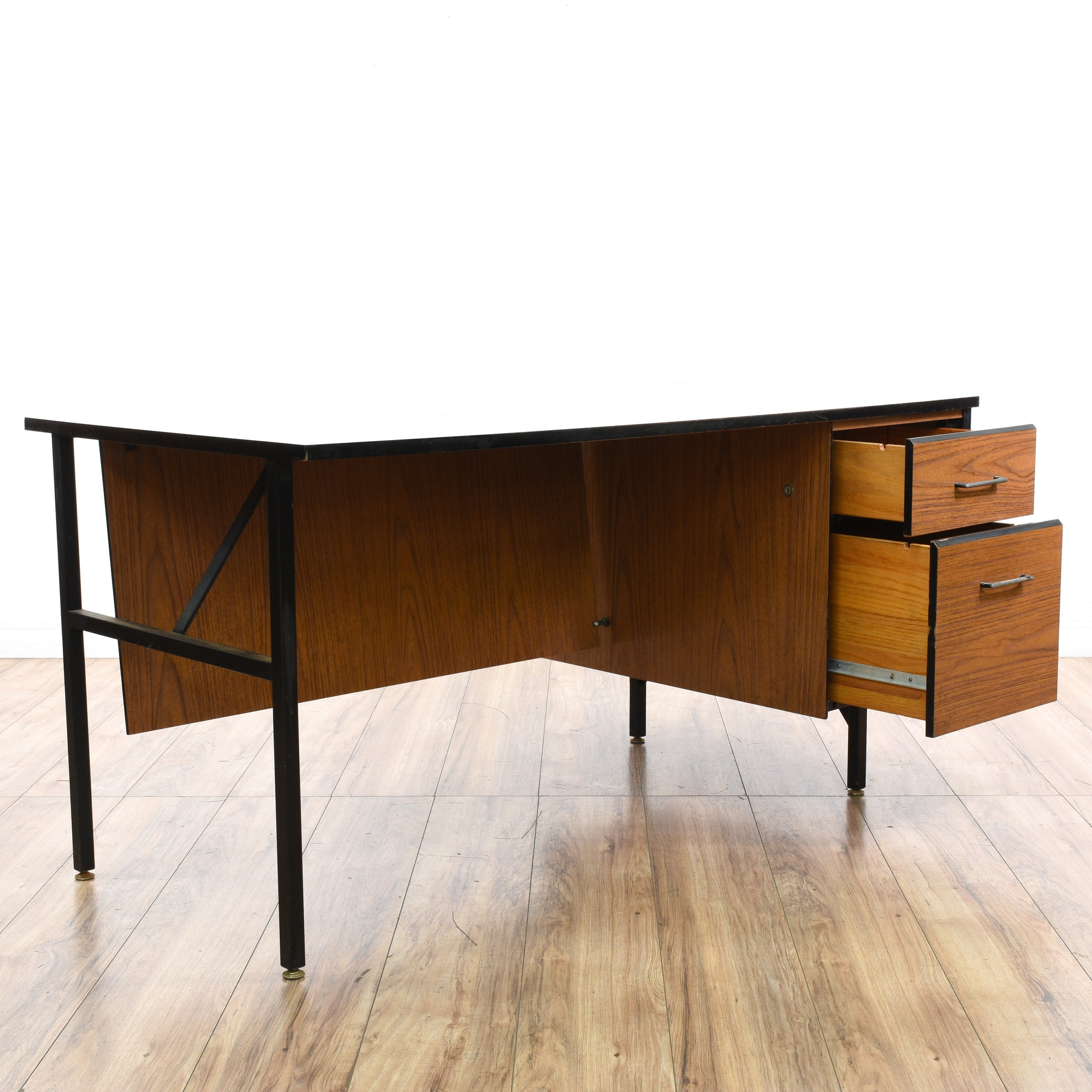 mid century modern oak metal desk loveseat vintage furniture san diego los angeles. Black Bedroom Furniture Sets. Home Design Ideas