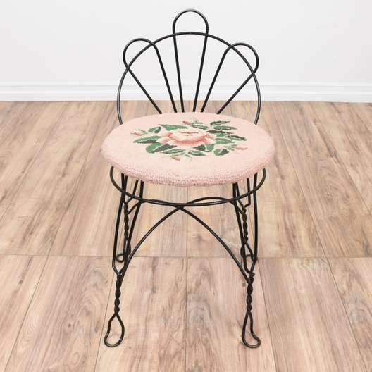 Black Curved Wire Floral Vanity Stool