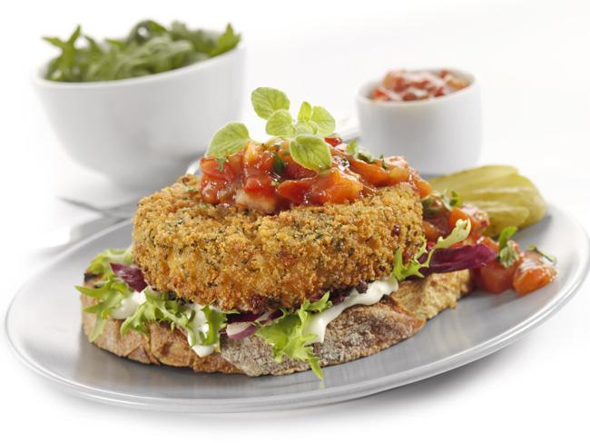 Cauliflower, kale and oak-smoked cheddar burger