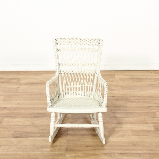 Child S White Painted Wicker Rocking Chair Loveseat
