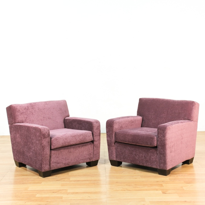 Pair Of Purple Upholstered Club Chairs Loveseat Vintage Furniture Los Angeles
