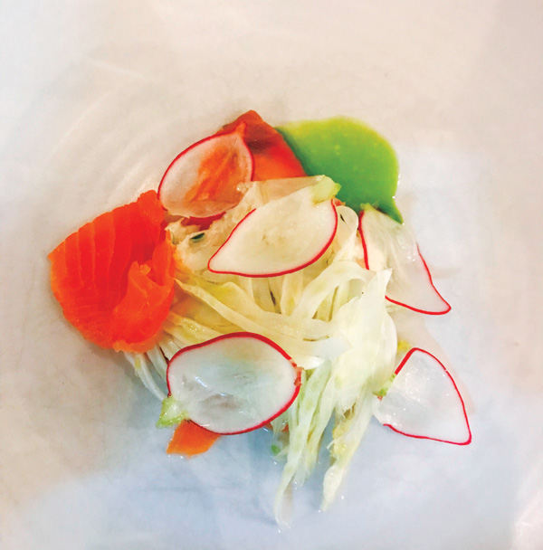 Shields crab, cured sea trout, pink grapefruit and pickled fennel