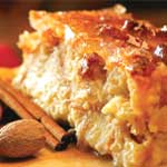 Bread pudding with vanilla-brandy sauce