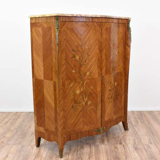 Antique Floral Marquetry Wardrobe Armoire