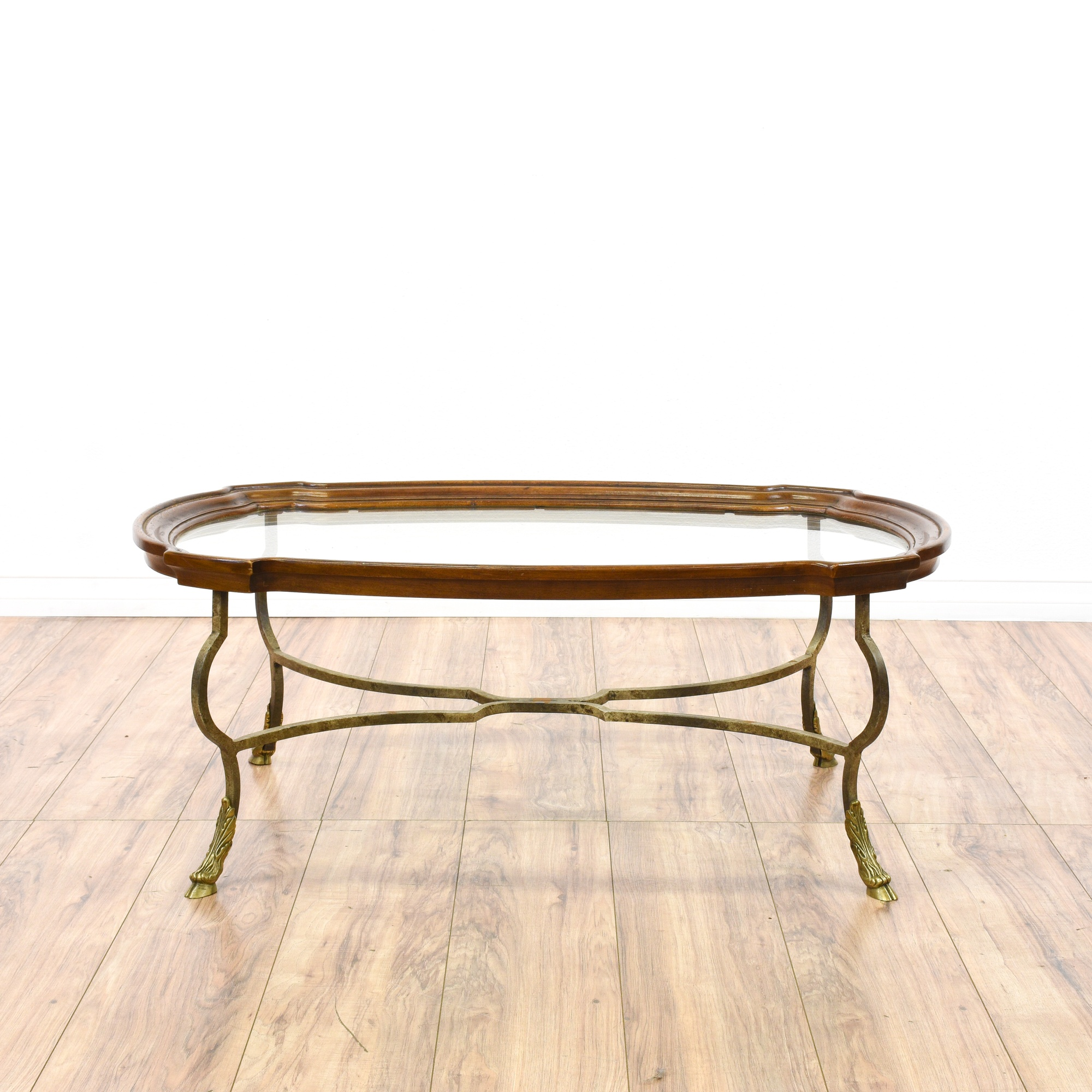 Drexel Heritage Brass Hoofed Coffee Table Loveseat Vintage Furniture San Diego Los Angeles