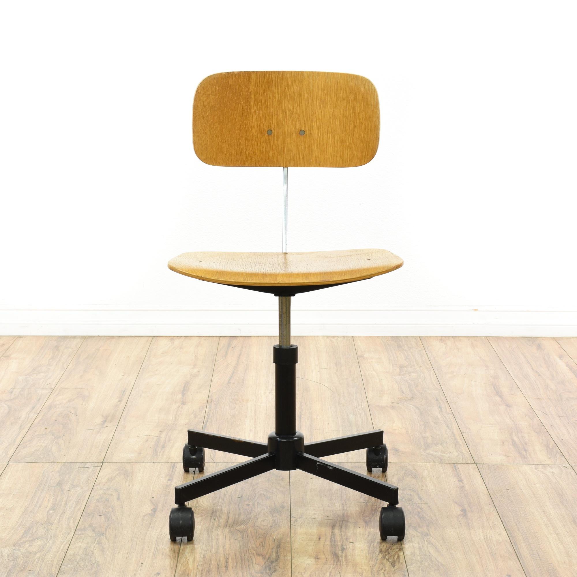 Mid century modern rolling plywood desk chair loveseat for Mid century modern la