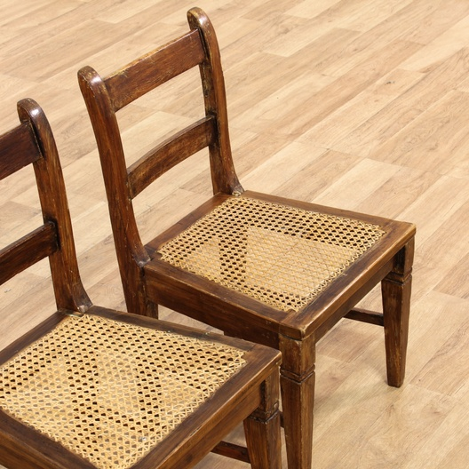 Pair Of Small Salesman Accent Chairs W Cane Seat