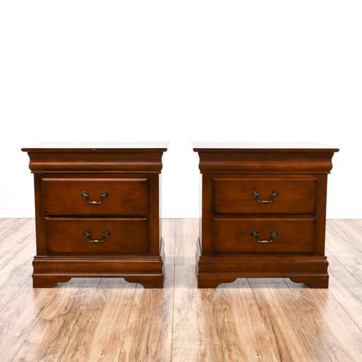 Pair of Traditional Cherry 2 Drawer Nightstands