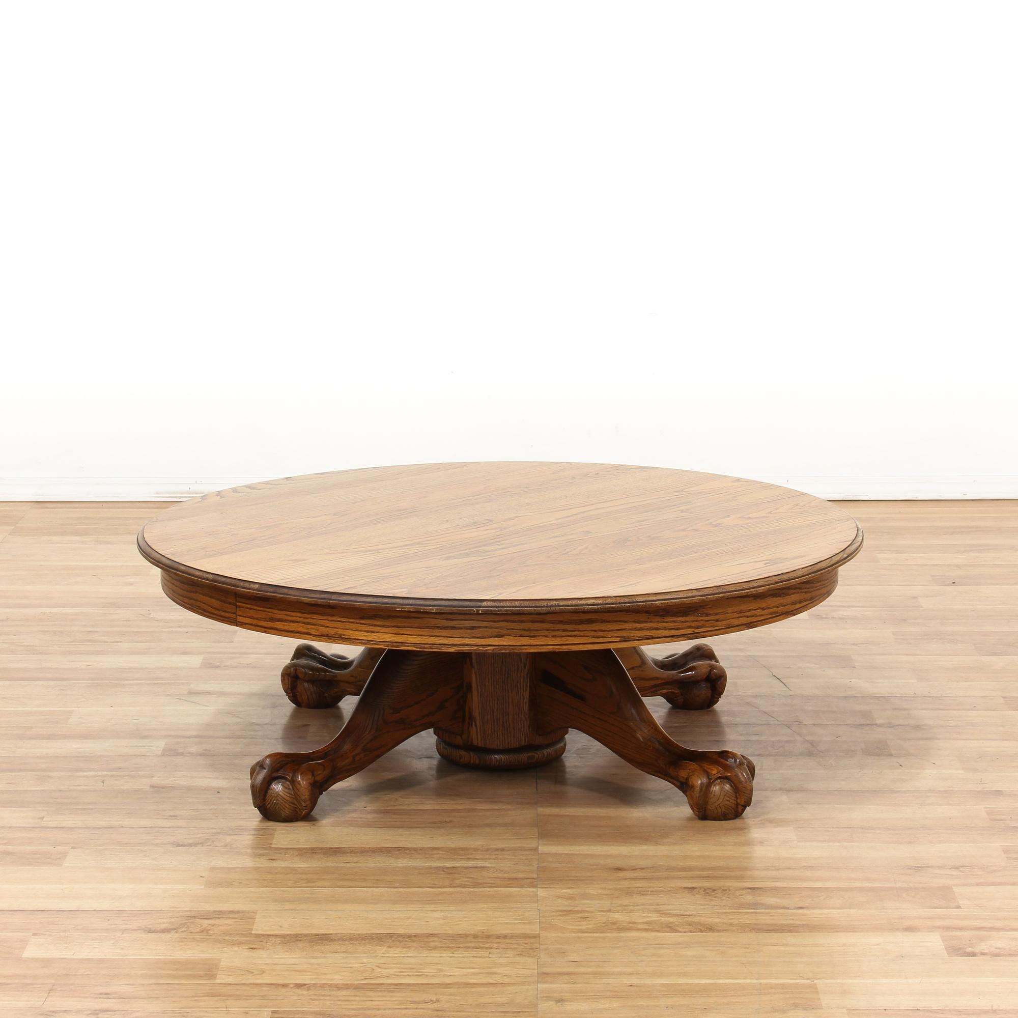 Round Oak Claw U0026 Ball Foot Coffee Table | Loveseat Vintage Furniture Los  Angeles