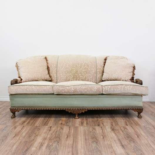 Blue & Beige Brocade Upholstered Carved Sofa