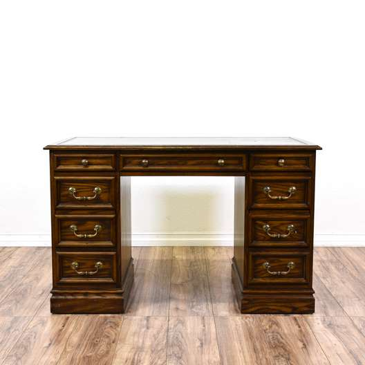 """Sligh"" 7-Drawer Leather Top Executive Desk"