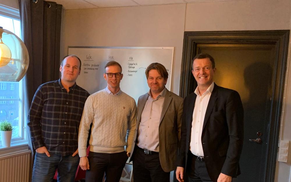 Andreas Rödin och Lars Eriksson från Carecare Systems, Mats Håkansson Almi Invest och Einar Dahle från BUS AS.
