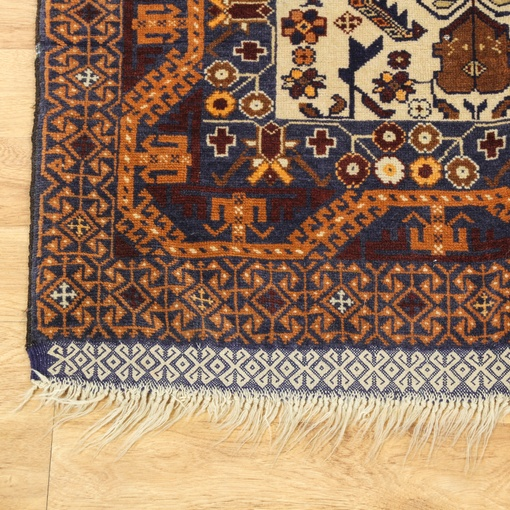 Persian Navy & Burgundy Hand Tied Rug