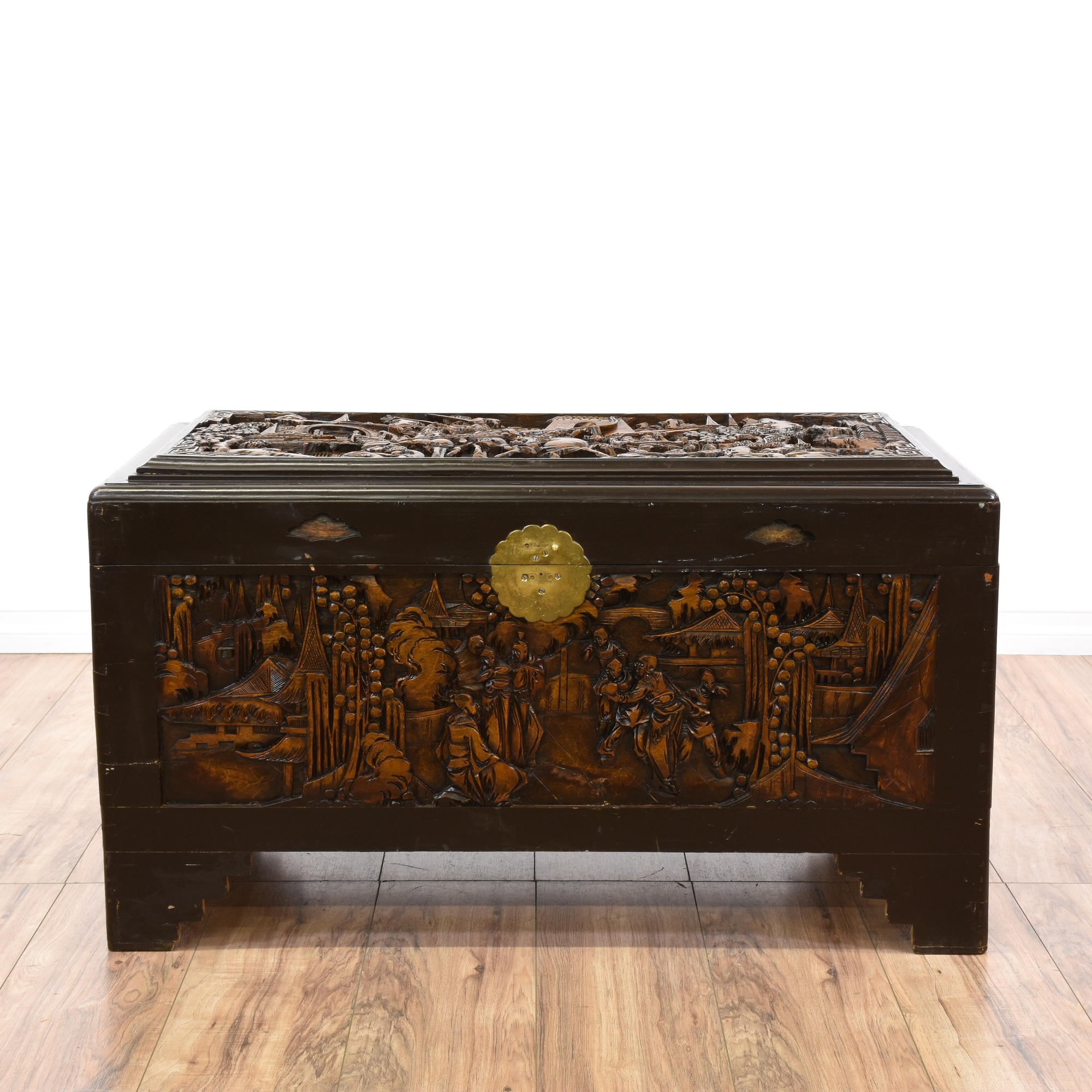 Chinese carved dark wood trunk loveseat vintage for Oriental furniture los angeles