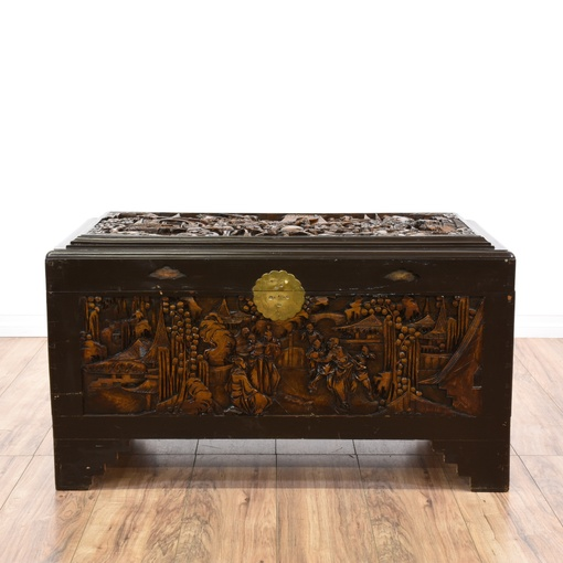 Chinese Carved Dark Wood Trunk Loveseat Vintage