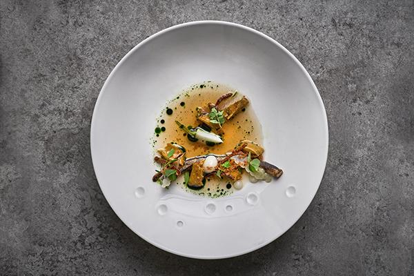 Comte agnolotti, Japanese artichoke, baby turnip and parsnip root
