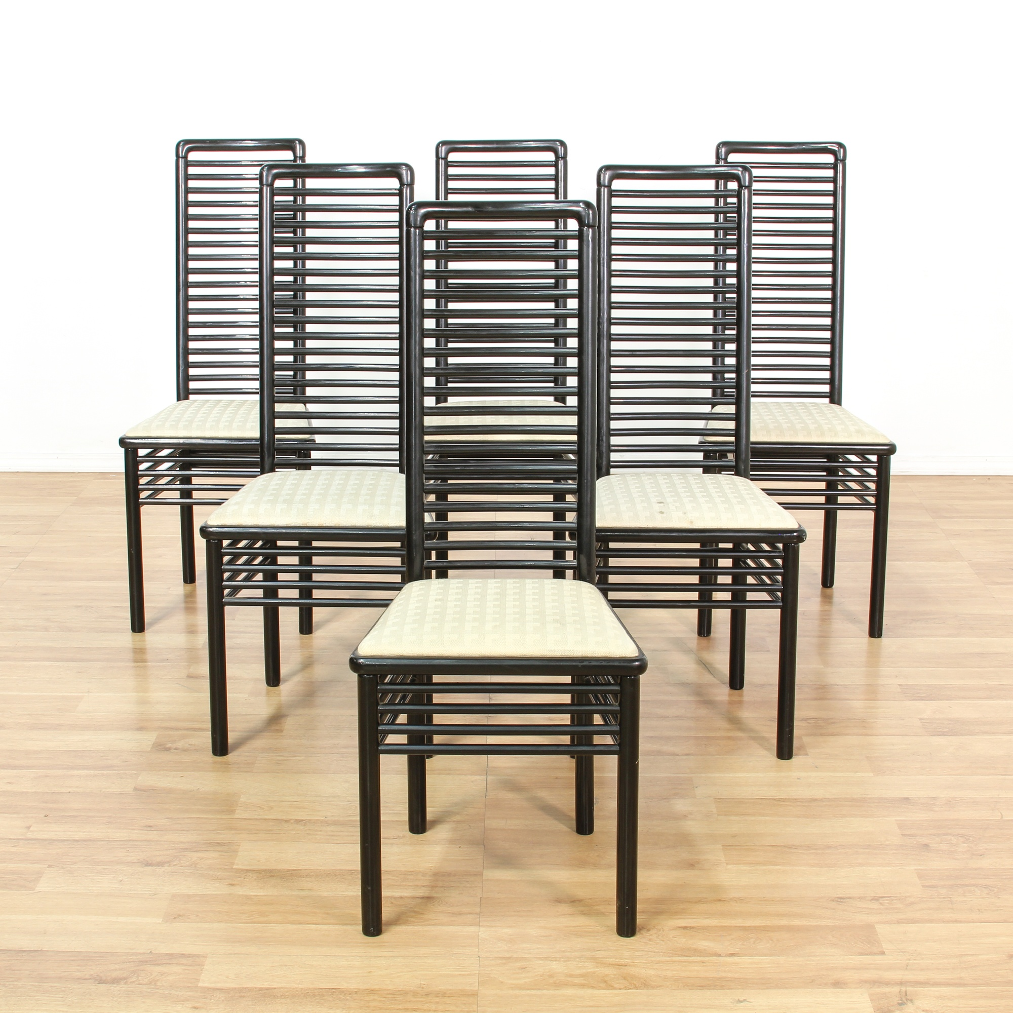 Set Of 6 Contemporary Italian Dining Chairs Loveseat Vintage Furniture San