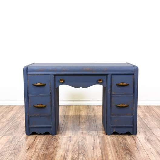 Shabby Chic Navy Blue Carved 5-Drawer Desk