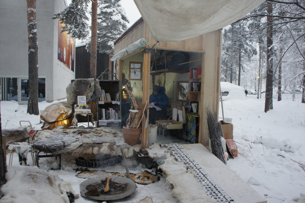Image: Girjegumpi installed in Jokkmokk during the annual winter-market in February, 2018. Photo: Astrid Fadnes