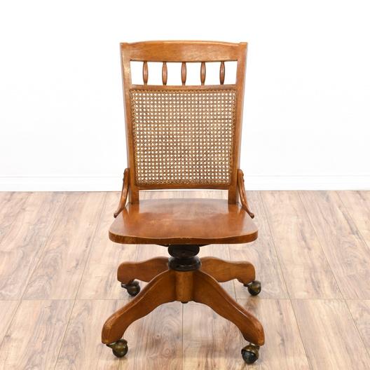 Cane Back Rolling Desk Chair Loveseat Vintage Furniture