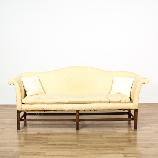 Chippendale Style White Slip Covered Sofa
